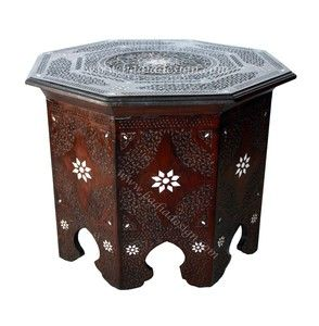 Moroccan Mother of Pearl Inlay Wooden Side Table