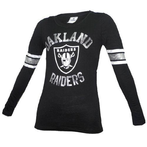 Oakland Raiders Womens Baby Jersey V-Neck T-Shirt - Black