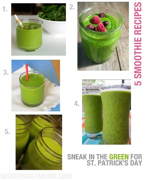 5 healthy GREEN smoothie recipes for St. Patrick's Day and beyond.