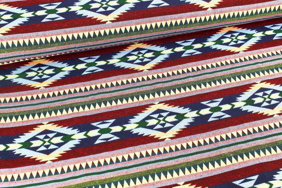 Jacquard - Muster - Raute - Blau/Rot/Grün auf alles-fuer-selbermacher.de
