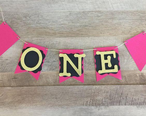 One Birthday Banner - Etsy Themangoleaf shop. Girls Birthday ...