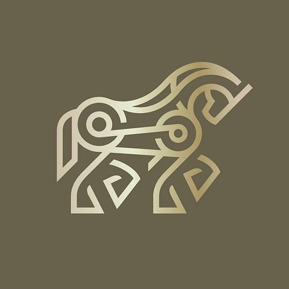 minimal horse body logo