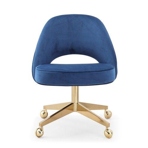Blue Velvet Armless Office Desk Chair Gold Frame Casters Chair Upholstery Wood Chair Chair