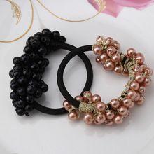 New femmes coréennes fille Headwear accessoires strass Imitation perles perles bande de caoutchouc élastique Ties Ponytail Holder chouchou(China (Mainland))