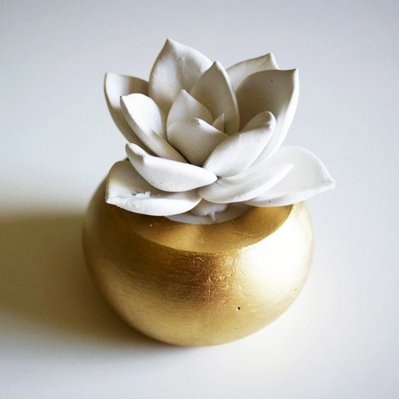 Eternal Succulent Sculpture - Everything Gold Collection - Dot & Bo #gold  #lotus #sculpture
