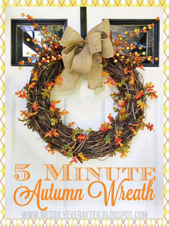 Five Minute Autumn Wreath Tutorial Messily Ever After