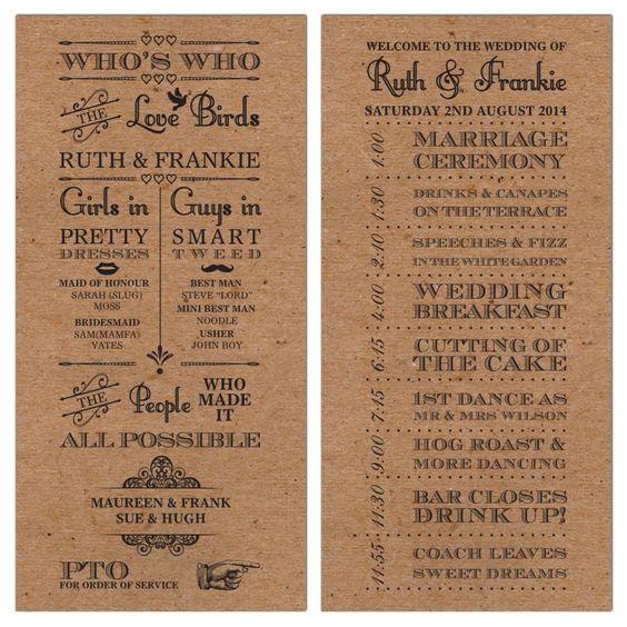 50 Personalised Rustic Vintage Brown Wedding Day Order of Service Cards!