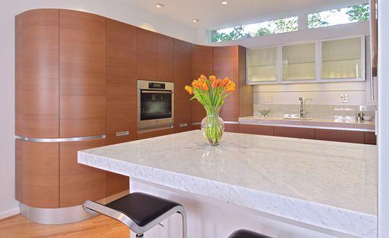 Pedini cherry and glass cabinets carrera marble worktops for Pedini cabinets