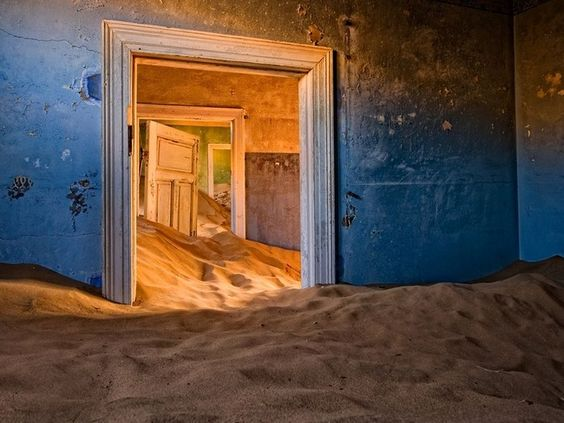Kolmanskop, Namiböknen, Nambia. Övergiven stad.