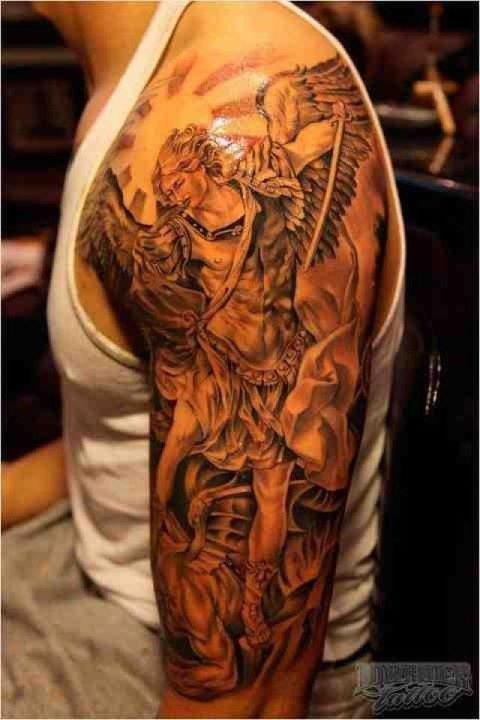 sleeves michael o keefe demon tattoo sleeve angels tattoo ink tattoo ... X Men Tattoo Sleeve