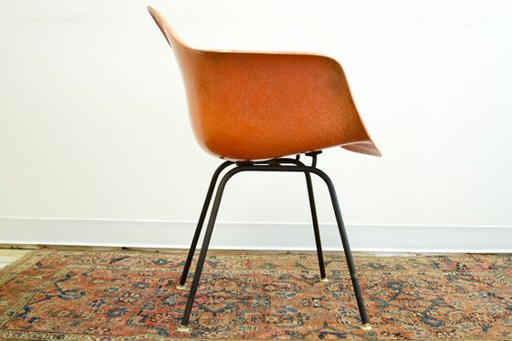 Early Peach Orange Herman Miller Chair by oldnewhouse on Etsy, $595.00