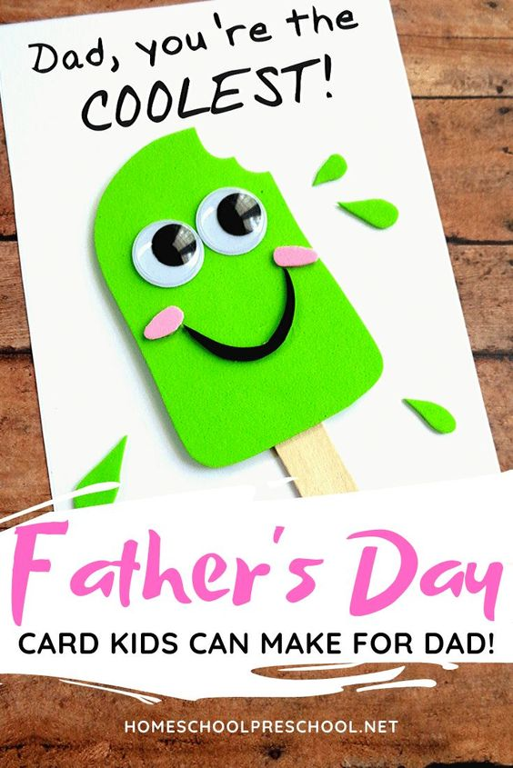 This is one of the cutest Fathers Day crafts I've seen! Your kids will love making this popsicle-themed Fathers Day craft for the coolest father they know! #fathersdaycard #fathersdaycraft #fathersdaypreschool #homeschoolprek