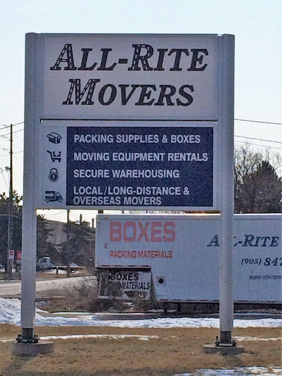 Large but simple #sign for All-Rite Movers in #oakville. All-Rite Movers are specialists in house or office relocation, and can help you with your local or long distance move. They offer a full packing service and have heated, ventilated and secure storage #signage
