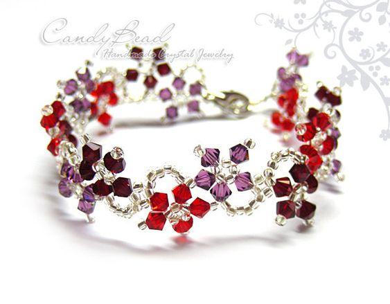 Pulseras de cristal Swarovski amatista y rojo por por candybead