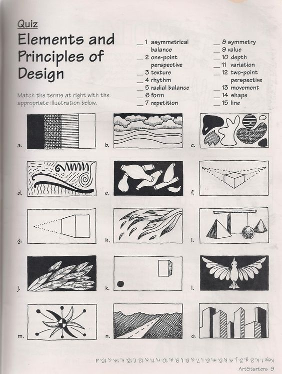 Printables Principles Of Design Worksheet art elements principles of and search on pinterest no corner suns the free quiz download or