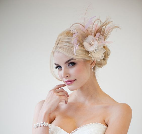 Bridal Fascinator Fascinator Ivory Gold Pink by PowderBlueBijoux, $129.00