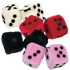"Plush Fuzzy Dice-3""-12 pack"
