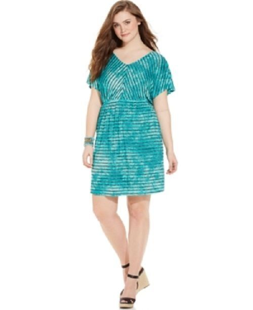 Plus Size 1X Dress Striped Marble Print Teal Blue Aqua Style & Co. $59.50 - NWT #StyleCo #EmpireWaist #Casual