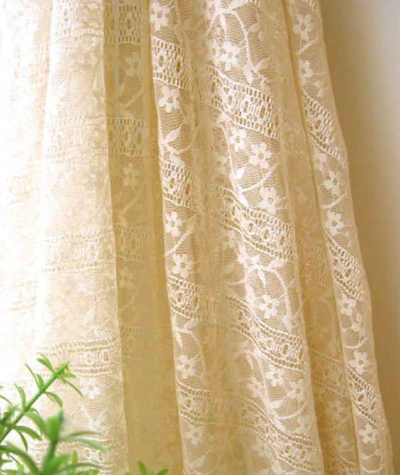 Tissu en coton rayonne dentelle fleur retro crem shabby couture rideau maria - Rideaux dentelle coton ...