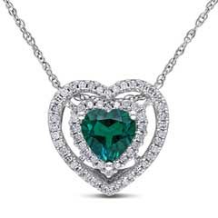 6.0mm Heart-Shaped Lab-Created Emerald and 1/5 CT. T.W. Diamond Double Frame Pendant in 10K White Gold - 17