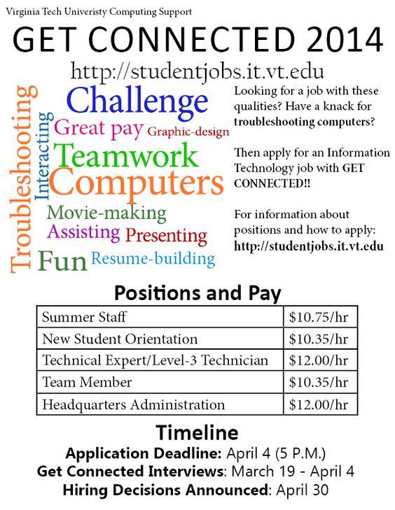 The Get Connected program with Virginia Tech is hiring through - virginia tech resume