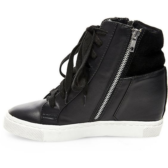 Steve Madden Women's Lagoon Wedges Sandals Sneakers ($90) ❤ liked on Polyvore featuring shoes, sneakers, black, hidden wedge sneakers, wedges shoes, leather wedge sneakers, black sneakers and wedge heel sneakers