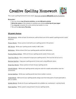 Tales of a Fifth Grade Teacher: Creative Spelling Homework