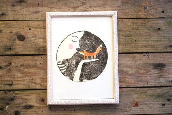 Linoldruck - Linoldruck original Fuchs Frau Kuss gouache - ein Designerstück von…