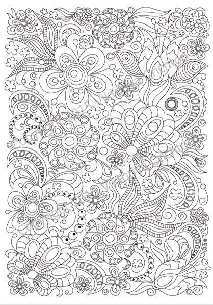 Adult coloring page doodle flowers, zentangle inspired, printable ...