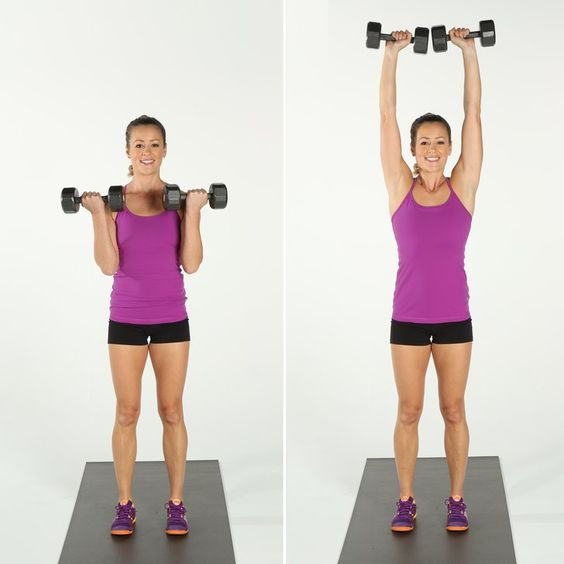 Pin for Later: 12 Dumbbell Exercises For Strong, Chiseled Arms Bicep Curl and Overhead Press