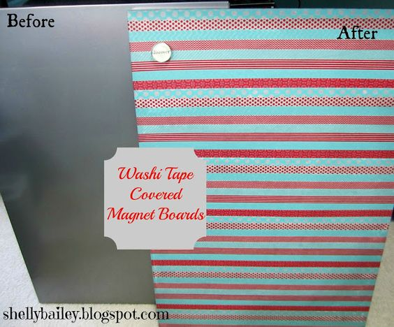 Washi tape covered magnet boards