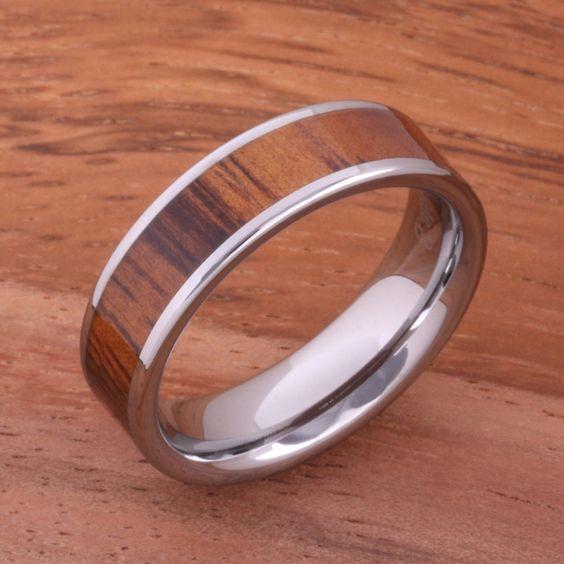 6mm Natural Hawaiian Koa Wood Inlaid Tungsten Flat Wedding Ring