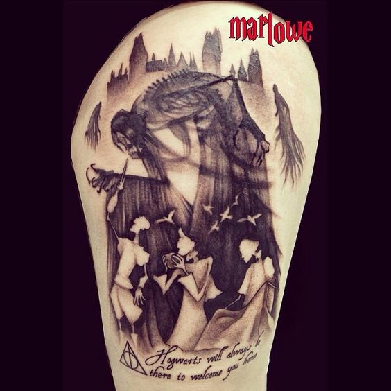 Harry potter tattoo deathly hallows the three brothers for Harry potter sleeve tattoo