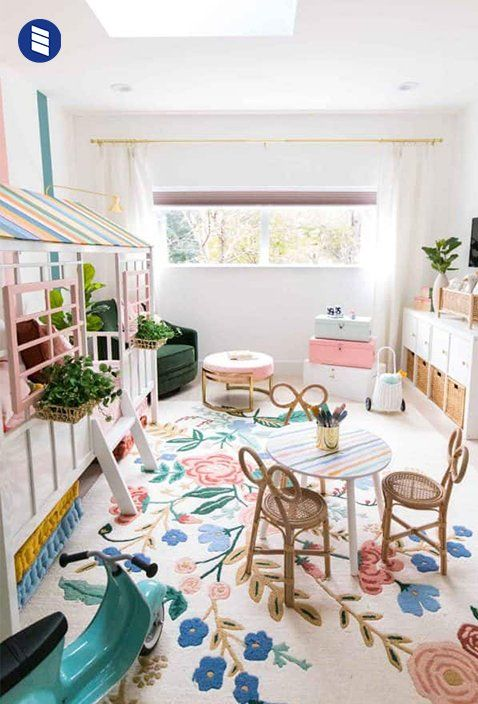 This Lakeside Mid Century Home Makes The Case For Decorating With More Color Blinds Com Toddler Bedroom Girl Girl Room Big Girl Bedrooms