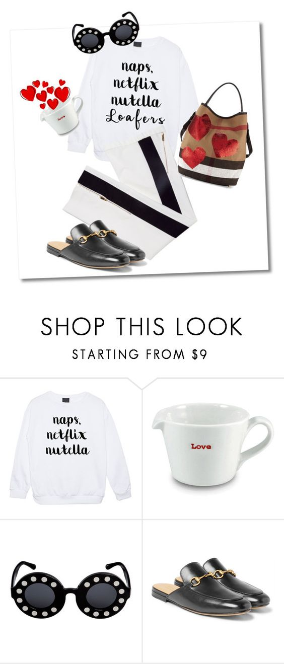 """Who ordered some love and loafers?"" by imaginen ❤ liked on Polyvore featuring Keith Brymer Jones, Linda Farrow, Gucci and Burberry"