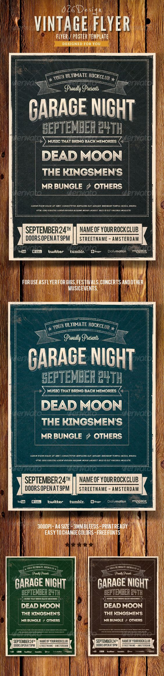Vintage Typography Poster / Flyer IV — Photoshop PSD #indie #flyer • Available here → https://graphicriver.net/item/-vintage-typography-poster-flyer-iv/6341597?ref=pxcr