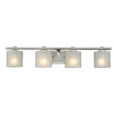 Hampton Bay Sheldon 4 Light Brushed Nickel Bath Bar Light Home The O 39 Jays And Home Depot