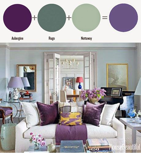 Amy howard at home one step paint aubergine rugo for Aubergine living room ideas