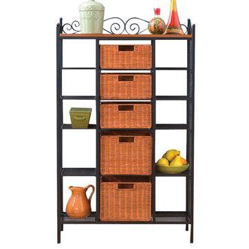 Buttonwood Scrolled Kitchen Storage Rack in Black/Brown