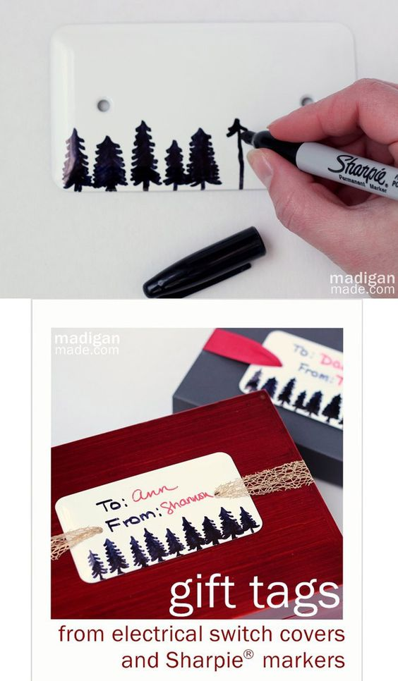 Gift Tags Made from Sharpies and Electrical Switch Covers   51 Seriously Adorable Gift Tag Ideas