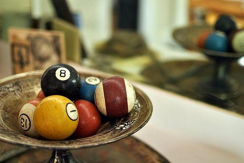 cool display for a game room - vintage pool table balls Pool room
