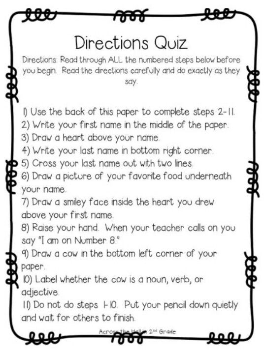 Following Directions Worksheet Trick - Worksheets
