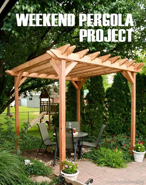 DIY Weekend Pergola Project from That's What {Che} Said - I would LOVE to Build a Pergola! #BringInSpring