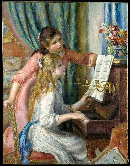 Two Young Girls at the Piano Auguste Renoir (French, Limoges 1841–1919 Cagnes-sur-Mer) Date: 1892 Culture: French Medium: Oil on canvas Dimensions: 44 x 34 in. (111.8 x 86.4 cm) Classification: Paintings Credit Line: Robert Lehman Collection, 1975 Accession Number: 1975.1.201 This artwork is currently on display in Gallery 955: