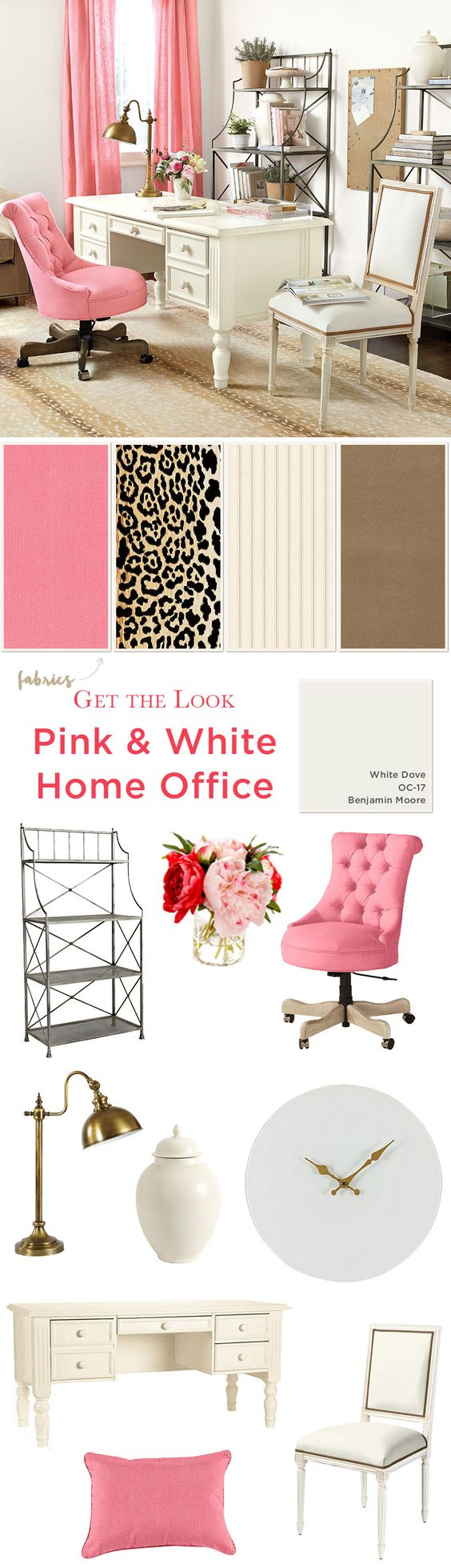 Get the look of this girly, home office