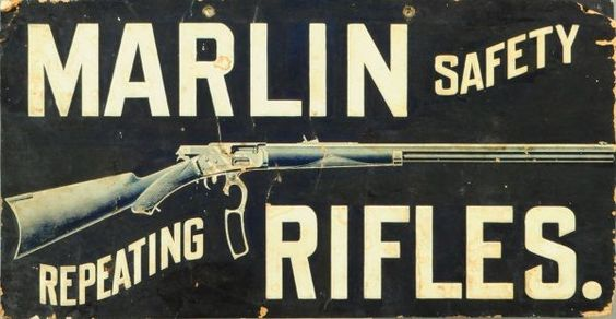Marlin Rifles Cardboard Advertising Sign