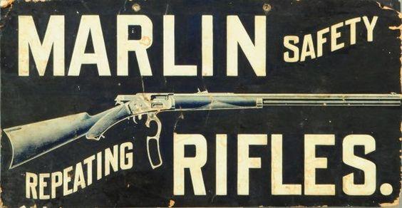 Marlin Rifles Cardboard Advertising Sign