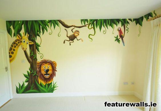 Kids farm mural   jungle room boys space room mural