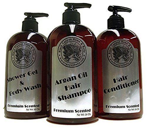 Black Canyon Shower Set Argan Oil Shampoo, Conditioner Body Wash, Cucumber Melon, 16 Oz