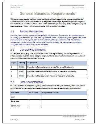 Business Requirements Specification Template  Business Writing
